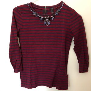 J. Crew Jeweled Necklace Striped Top